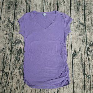 Kismet Basic Purple V Neck Ruched Short Sleeve  L